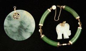 Three 14k Yellow Gold And Jade Jewelry