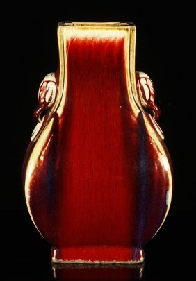 Chinese Oxblood Jun Glazed Zun Vase