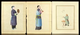 Three Chinese Canton Export Water Color Paintings