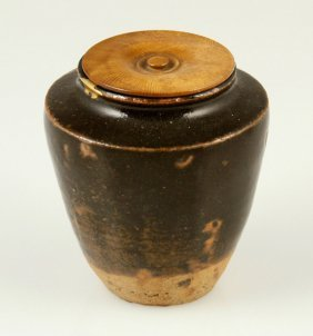 Japanese Brown Pottery Tea Caddy