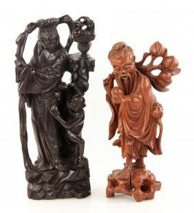 Two Carved Chinese Wood Figures