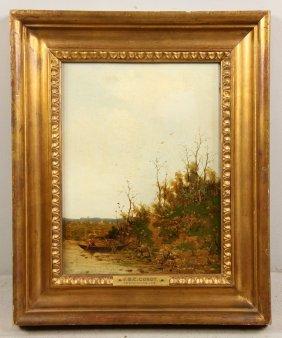 Follower Of Corot, Landscape With Fishermen, Oil On