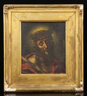 Attr. Dolci, Christ Wearing Crown Of Thorns, Oil On