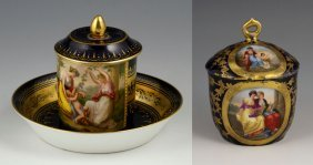 Covered Pot With Royal Vienna Cup And Saucer
