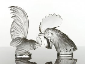 Two Lalique Rooster Heads