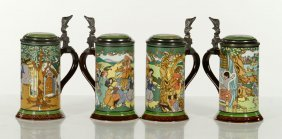 Four Villeroy And Boch Mettlach Steins