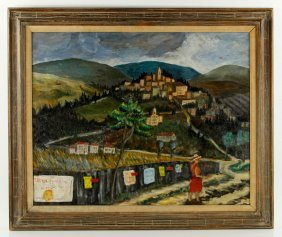 Parish, Hilltop Village, Oil On Canvas
