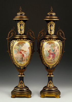 Two 19th C. Balustrade Form Sevres Urns