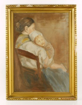 "Attr. Modersohn-becker, ""mother And Child,"" Oil On"