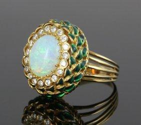 Opal, Diamond And Enamel Ring
