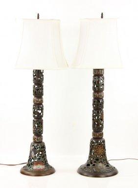 Pr. 19th C. Champleve Lamps