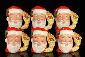 Set Of 6 Royal Doulton Santa Claus Toby Jugs