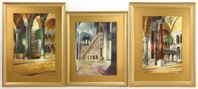 Petroff, Trio Of Mosques, Oil On Board