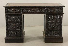 Victorian Carved Pedestal Desk