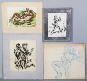 Littlefield, 4 Works, Ink Wash, Photostat, And Crayon
