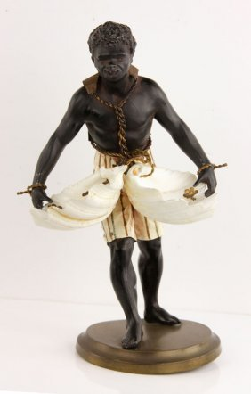 Blackamoor Figure With Shell Baskets