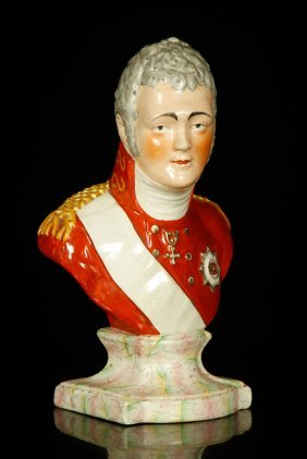 19th C. Staffordshire Bust Of Alexander I Of Russia