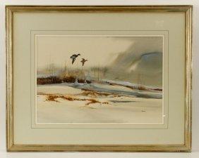 Sander, Mallards In Flight, Watercolor