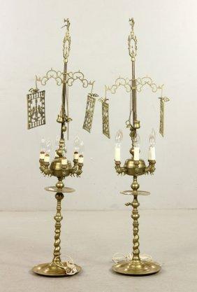 Pr. English Brass Lamps