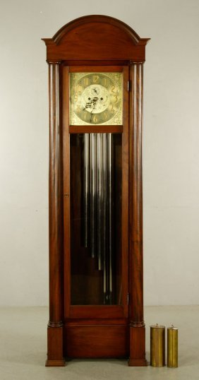 Antique Kuehl Pillar Grandfather Clock