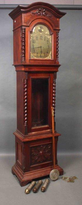 19th C. Victorian Mahogany Tall Case Clock