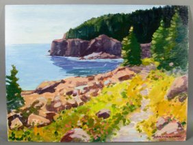 "James, ""otter Cliffs,"" Oil On Masonite"