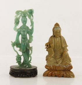 2 Carved Chinese Stone Figures