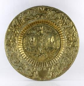 18th C. English Elizabethan Embossed Brass Wall Charger