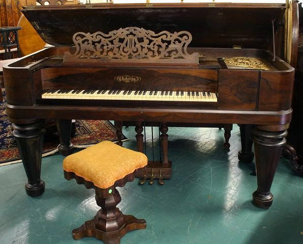 211 Mid 1800 Square Grand Piano Rosewood Chickering