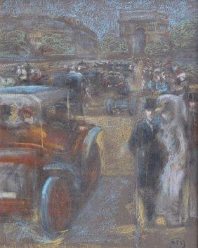 French Modernist Pastel Of Paris Circa 1920s