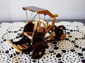 Miniature Wooden Cambodian Cyclo