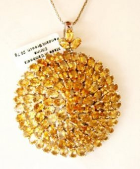 Natural Citrine Pendant/brooch 29.16ct 18k W/g Overlay