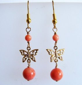 Natural Coral Bead Earring 5.14ct 18k Y/g Overlay