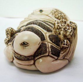 Golden Fish&sea Turtle Bone Carved 19th Century
