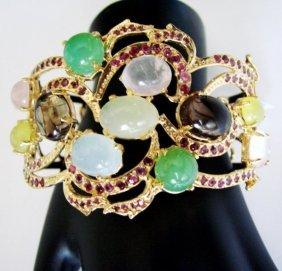 Bangle Natural Gems Multicolor 67.81ct 18k Y/g Overlay