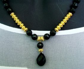 Natural Black Onyx Beads Necklace 18k Gp
