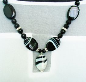 Black Agate/black Onyx/crystal Sterling Silver Clasp