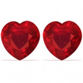 Loose Pairs Ruby Heart Shape 1.90ct 6x5.8x3 Mm