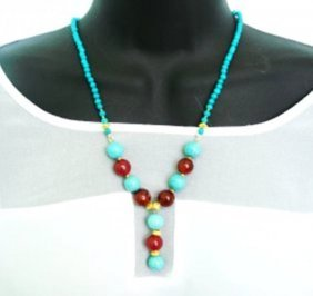 Multi-color Turquoise /red Agate Bead 18k Gp
