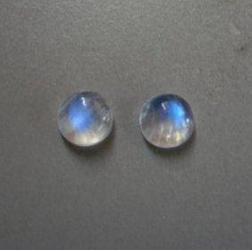 Pairs Blue White Rainbow Moonstone Round 3.35 Ct