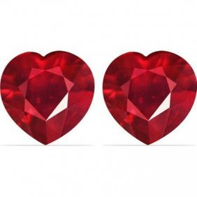 Loose Pairs Ruby Heart Shape 2.55ct 6.6x5.5x3.4 Mm