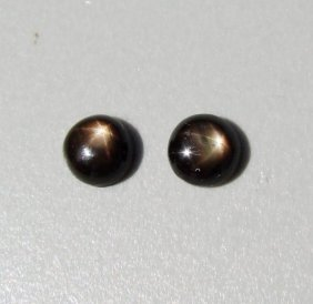 Natural Black Star Sapphire Pairs Round Cabochon 3.70ct