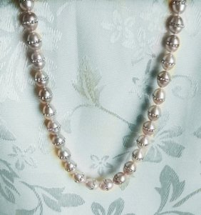 Crystal Rhinestone Freshwater Pearl Necklace