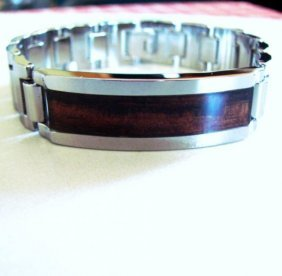 Men Id Bracelet Tungsten Carbide Santos Rosewood Inlay