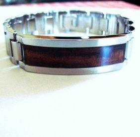 Men Id Bracelet Tungsten Carbide Santos Rosewood Inlay