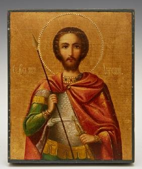 Russian Icon Of St. Alexander, Early 20th C., Enamel On