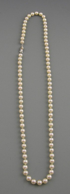 Strand Of 6.5mm Cultured Pearls, Early 20th C., Wi