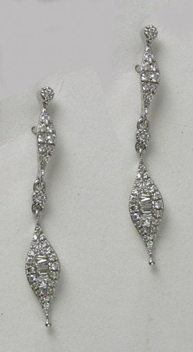 Pair Of 14K White Gold Pendant Earrings, With Elon