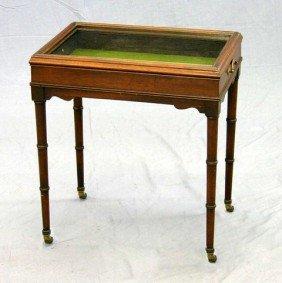 Diminutive Carved Mahogany Display Table, C. 1910,