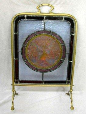 English Brass Leaded Glass Fire Screen, C. 1880, W